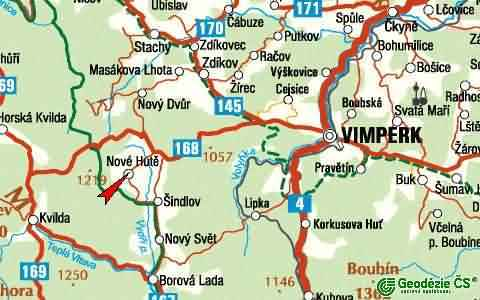 Map of way from Vimperk to Nove Hute